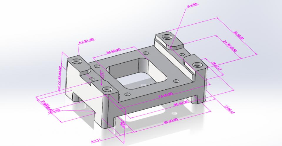 3D tegning med dimensioner